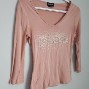 bebe Tops - 🍒3/$25Bebe blush colored sparkle king sleeve tee